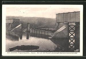 Ansichtskarte Kowno, Blick auf die gesprengte Njemen-Eisenbahnbrücke