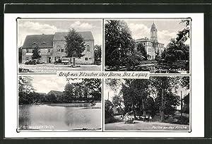 Ansichtskarte Kitzscher, Gasthaus, Fleischerei, Schloss, Kirche