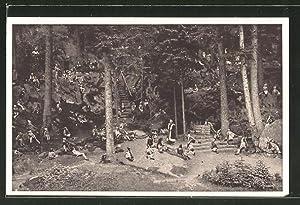 Ansichtskarte Wunsiedel, Naturbühne Luisenburg, Die Losburg, Gnomenszene