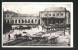 Ansichtskarte Kowno, Geschütze vor dem Bahnhof