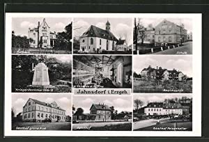 Ansichtskarte Jahnsdorf, Gasthof grüne Aue, Gasthof Felsenkeller,
