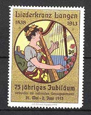 Reklamemarke Langen, 75 jähriges Jubiläum, Liederkranz 1913,