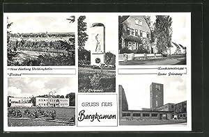 Ansichtskarte Bergkamen, Zeche Grimberg, Landwehrstrasse, Freibad, Ehrenmal