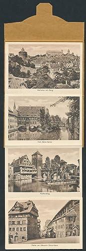 Leporello-AK-Album Nürnberg, Hallertor mit Burg, Heil. Geist-Spital,