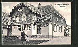 Ansichtskarte Hottingen, Frau mit Kind vor der