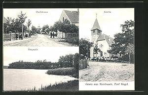 Ansichtskarte Kienbaum, Kirche, Dorfstrasse, Seepartie