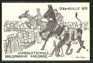 Künstler-Ansichtskarte Karlsruhe, Absolvia 1912 des Realgymnasiums Humboldtschule
