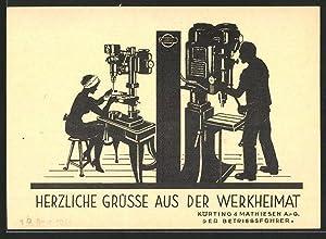 Vertreterkarte Leipzig, Körting, Mathiesen AG, Fabrikarbeiter bedienen