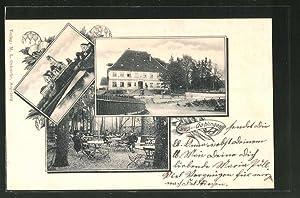 Ansichtskarte Gablingen, Gasthaus, Teilansicht mit Kirche