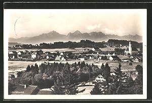 Ansichtskarte Lechbruck, Ortspartie mit Gebirge im Hintergrund
