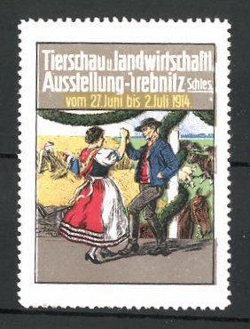 Reklamemarke Trebnitz, Tierschau-und landwirtschaftliche Ausstellung 1914, Bauern
