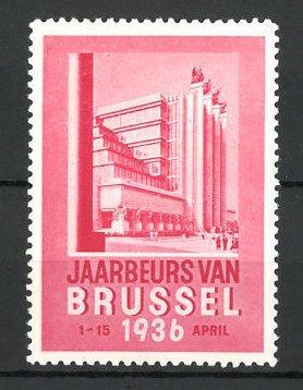 Reklamemarke Brussel, Jaarbeurs 1936, Ausstellungsgebäude, rot
