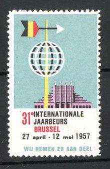 Reklamemarke Brussel, 31e internationale Jaarbeurs 1957, Messelogo