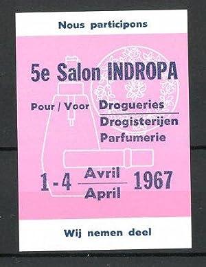 """Reklamemarke 5e Salon """"Indopra"""" 1967, """"Pour Drogueries"""","""