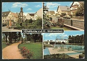 Ansichtskarte Rodheim v.d.H., Ortsansicht, Strassenpartie, Freibad