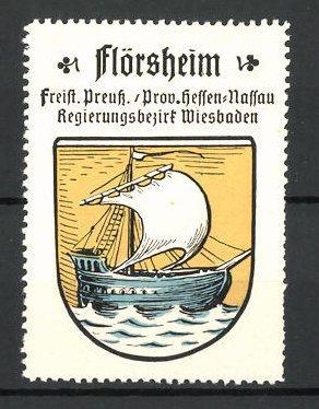 Reklamemarke Wappen von Flörsheim, Freistaat Preussen, Provinz