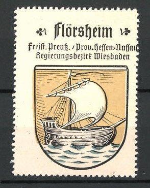 Reklamemarke Wappen von Flrösheim, Freistaat Preussen, Provinz