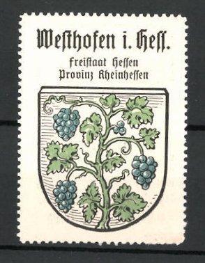 Reklamemarke Wappen, Westhofen in Hessen, Freistaat Hessen,
