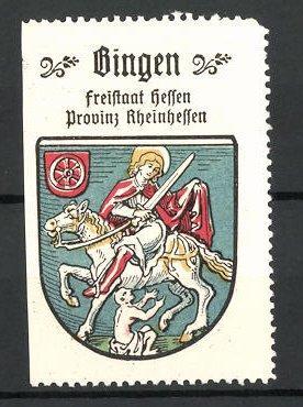 Reklamemarke Wappen von Bingen, Freistaat Hessen, Provinz