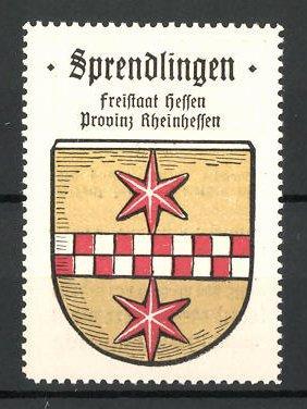 Reklamemarke Wappen von Sprendlingen, Freistaat Hessen, Provinz