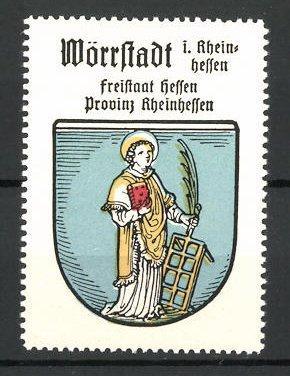 Reklamemarke Wappen von Wörrstadt, Freistaat Hessen, Provinz