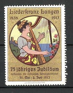 Reklamemarke Langen, 75jähriges Jubiläum Liederkranz Langen 1913,