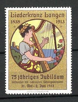 Reklamemarke Langen, 75jähriges Jubiläum Liederkranz Langen 1838-1913,