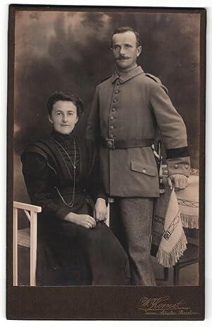 Fotografie W. Kornet, Bautzen, Portrait Soldat mit