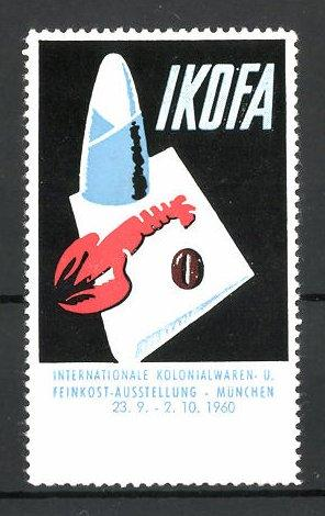 Reklamemarke München, internationale Kolonial-und Feinkost-Ausstellung 1960, Messelogo