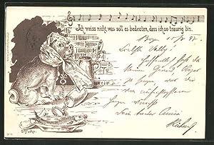 Künstler-Ansichtskarte sign. O. Fuchs: Hund mit Schlüssel