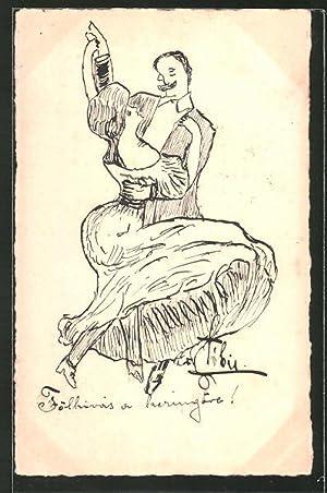 Künstler-Ansichtskarte Handgemalt: Paar beim Gesellschaftstanz
