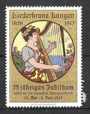 Reklamemarke Langen, Liederkranz Langen 1838-1913, Frau spielt