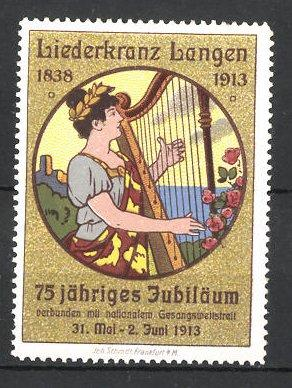 Reklamemarke Langen, 75jähriges Jubiläum Liederkranz 1913, Frau