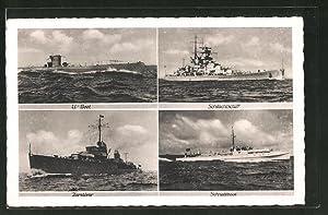 Ansichtskarte U-Boot, Schnellboot, Zerstörer und Schlachtschiff