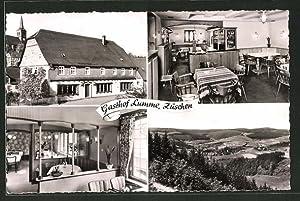 Ansichtskarte Züschen, Innenansichten vom Gasthof Lumme, Ortsansicht