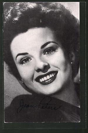 Ansichtskarte Portrait der Schauspielerin Jean Peters lächelnd