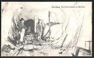 Ansichtskarte Dürnberg, Wolf-Dietrichstollen im Kalkstein, Bergleute