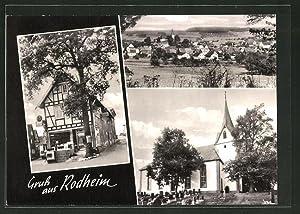 Ansichtskarte Rodheim, Ortsansicht, Kirche mit Friedhof, Geschäft