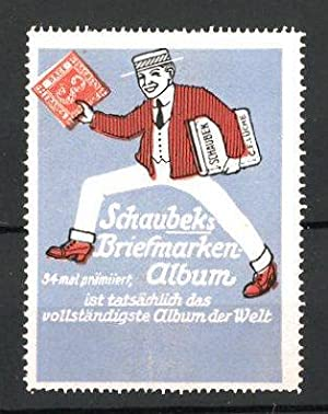 Reklamemarke Schaubek's Briefmarken-Album, Mann mit Briefmarken-Alben