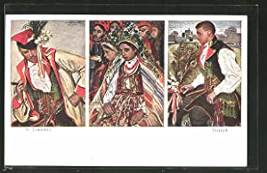 Künstler-Ansichtskarte Malarstwo Polskie, drei polnische Typen
