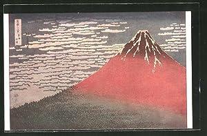 Künstler-Ansichtskarte Hokusai, Der Fuji im Abendrot