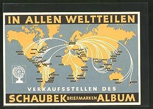 Ansichtskarte In allen Weltteilen, Verkaufsstellen der Schaubek