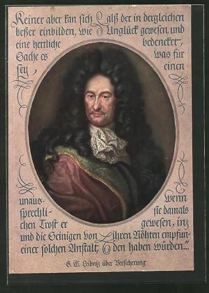 Künstler-Ansichtskarte Porträt des Philosophen Gottfried Wilhelm Leibniz