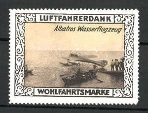 Reklamemarke Wohlfahrtsmarke Luftfahrerdank, Albatros-Wasserflugzeug