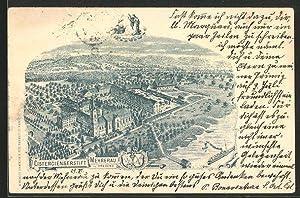 Lithographie Bregenz, Cistercienserstift Mehrerau aus der Vogelschau