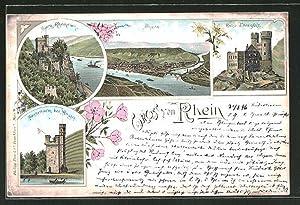 Lithographie Bingen a. Rh., Burg Rheinstein, Burg
