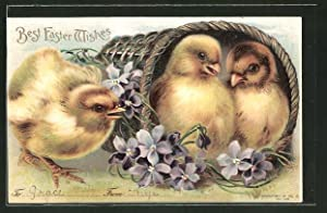Präge-Lithographie Best Easter Wishes, Osterküken in Körbchen