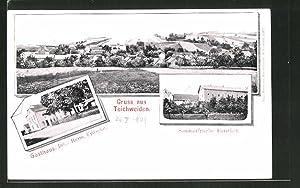 Ansichtskarte Teichweiden, Totalansicht, Gasthaus, Forsthof