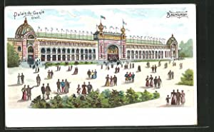 Lithographie Paris, Exposition universelle de 1900, Palais du Genie civil