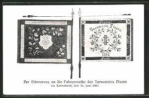 Ansichtskarte Dissen, Fahnenweihe des Turnvereins am 15.
